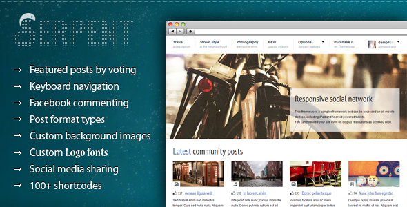 Serpent - Responsive Social Network Theme