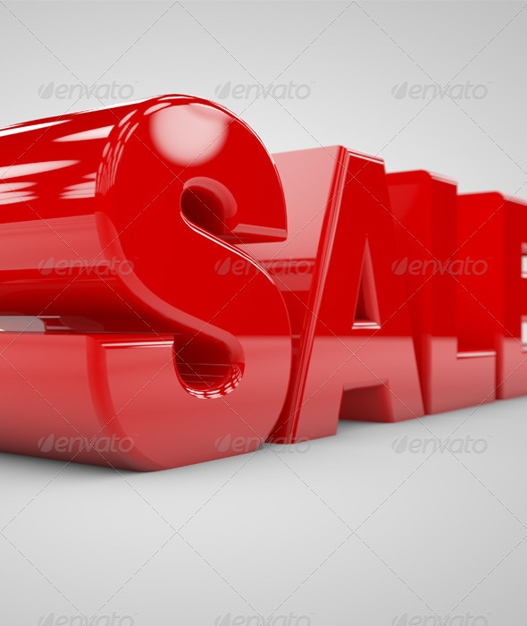 3D Sale Render with DoF - Text 3D Renders