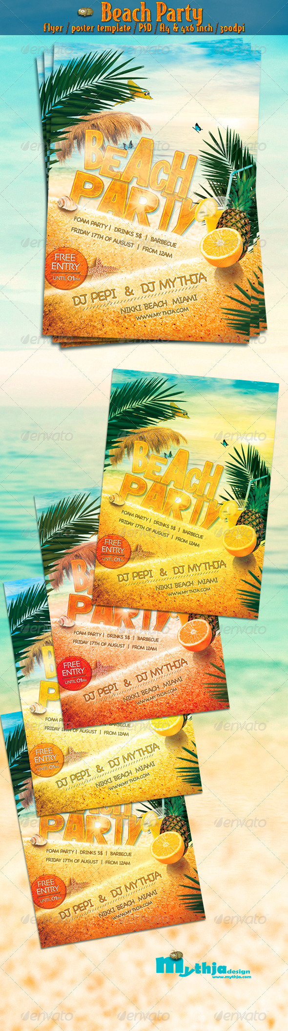 GraphicRiver Beach Party Vol.1 Flyer Poster Template 2593882