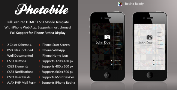Photobile Mobile Retina | HTML5 & CSS3 And iWebApp
