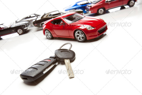 PhotoDune Car Keys and Several Sports Cars on White 292029