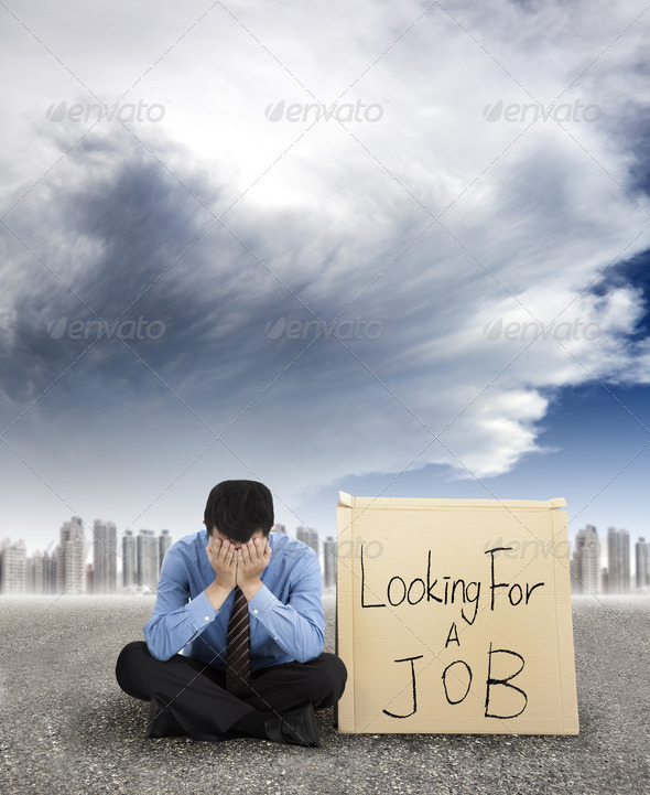 Stock Photo - PhotoDune businessman looking for a job and city with storm coming 2614327