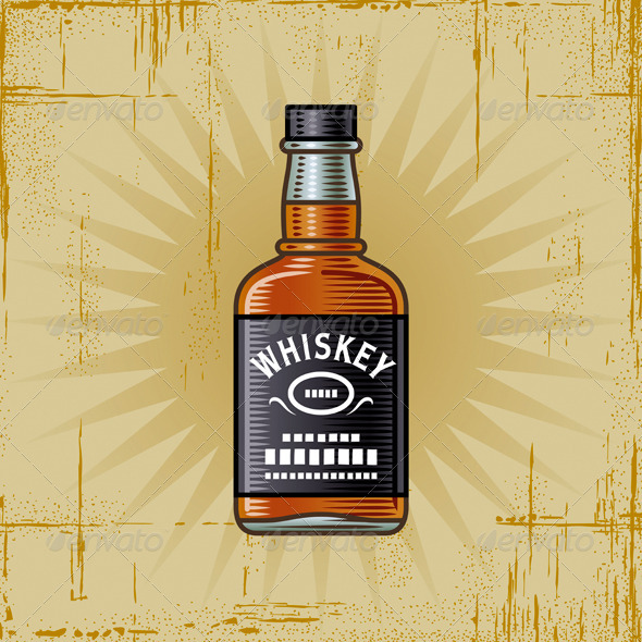 Retro Whiskey Bottle - Food Objects
