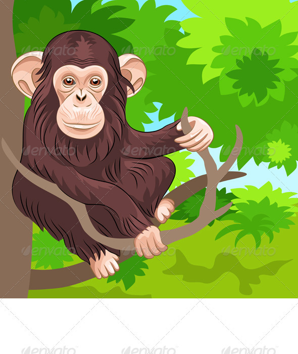 Vector of funny monkey chimp in the jungle - Animals Characters