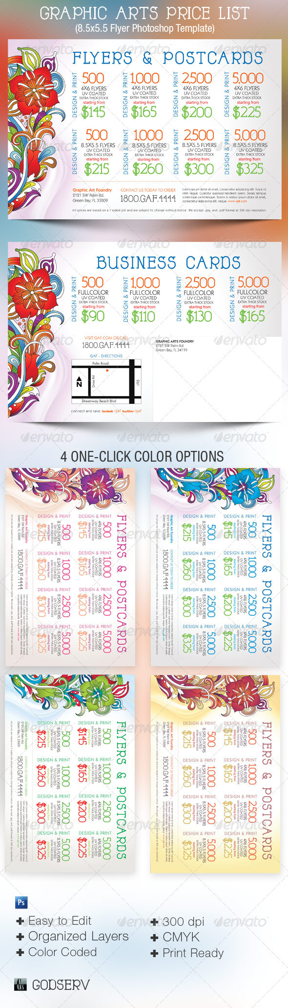 Graphic Arts Price Flyer and Postcard Template - Commerce Flyers