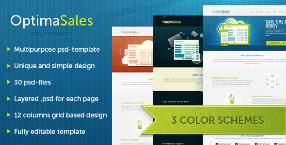 OptimaSales Business & Technology Template - Technology PSD Templates