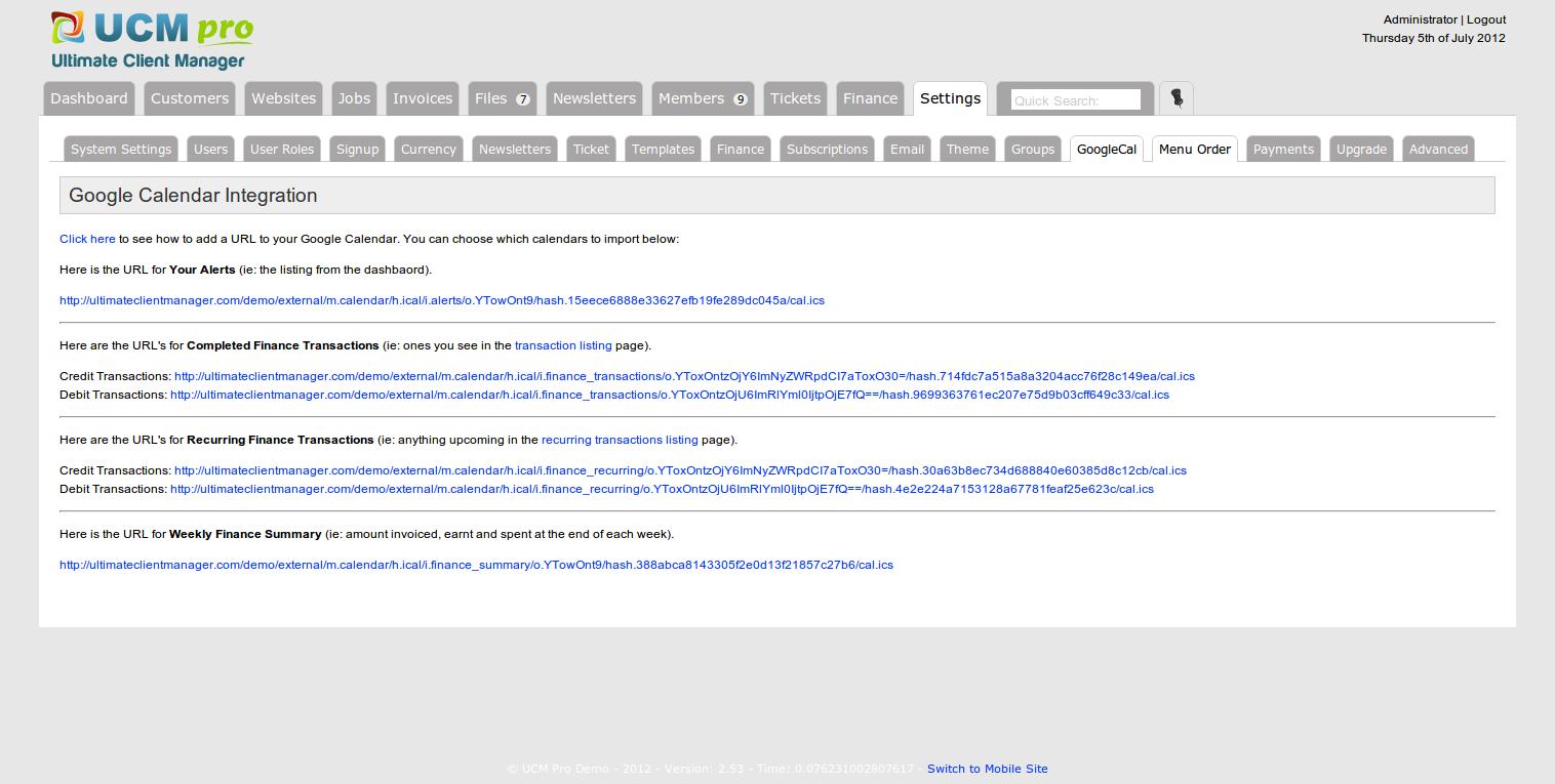 UCM Plugin: Calendar iCal / Google Calendar Export
