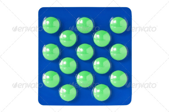 Green Pills In Blister - Stock Photo - Images
