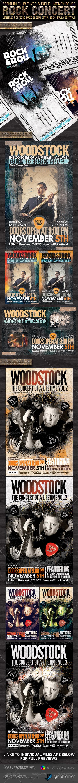 Rock Concert Premium Flyer Bundle PSD Templates