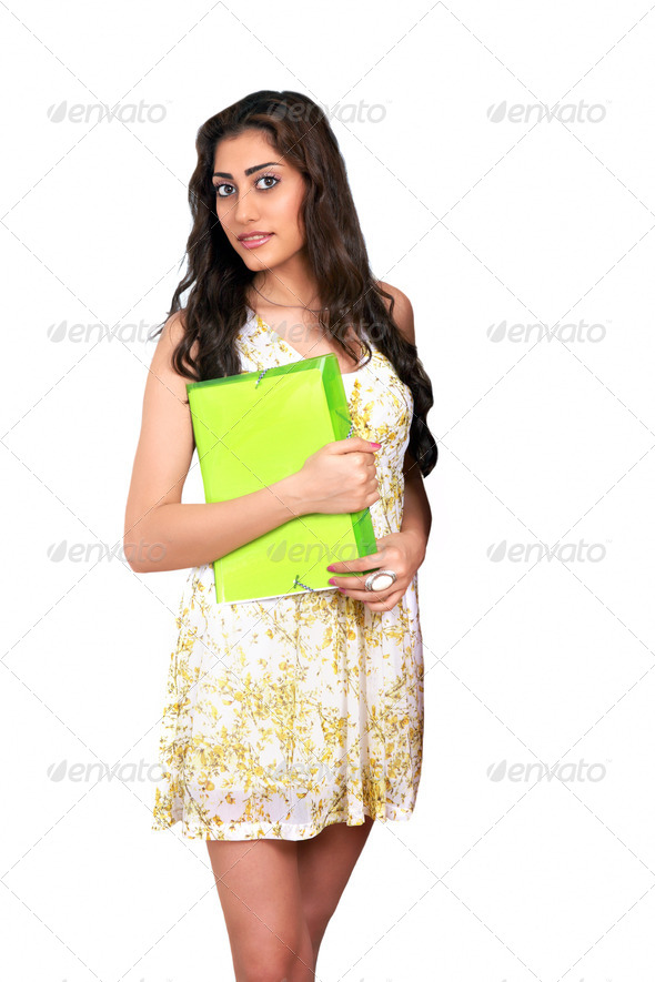 Girl with file - Stock Photo - Images