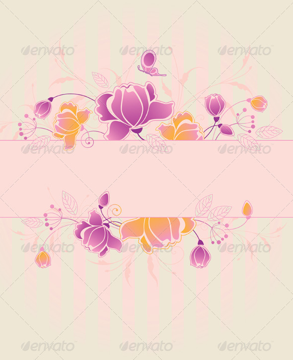 Floral Background with Roses - Backgrounds Decorative
