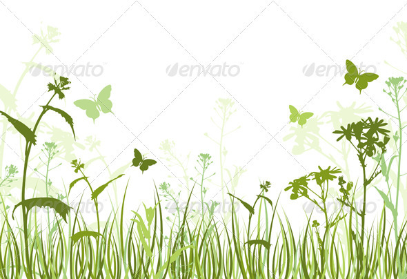 Green Floral Background - Characters Vectors