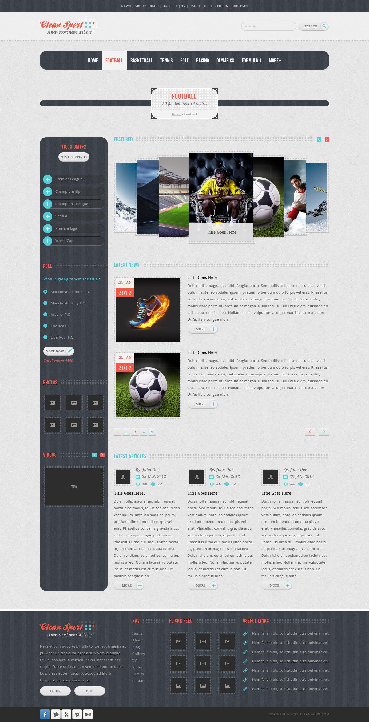 Clean Sport - 18 PSD Sport Template