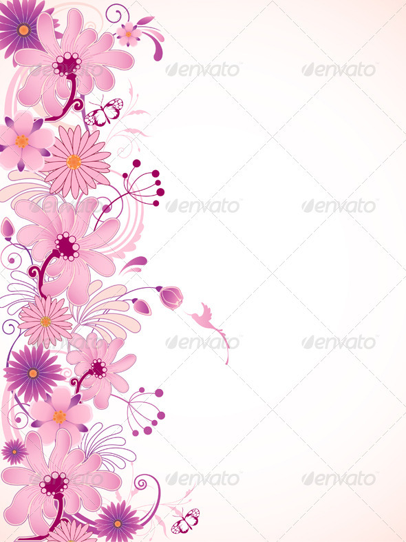 Pink Floral Background Graphicriver