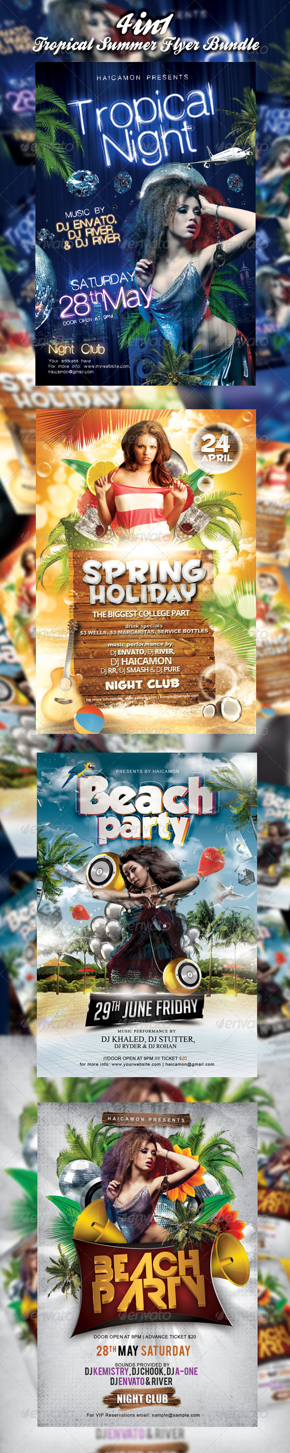 Tropical Summer Party Flyer Bundle - Events Flyers