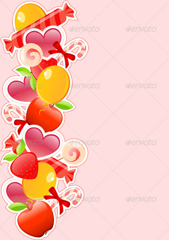 Holiday Background with Candy and Fruits