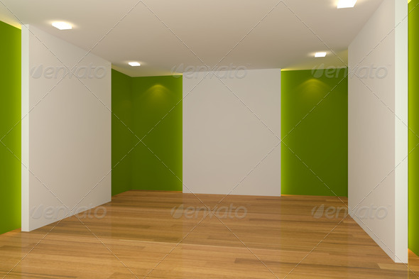 green empty room - Stock Photo - Images