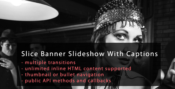 jQuery Slice Banner Slideshow with Captions