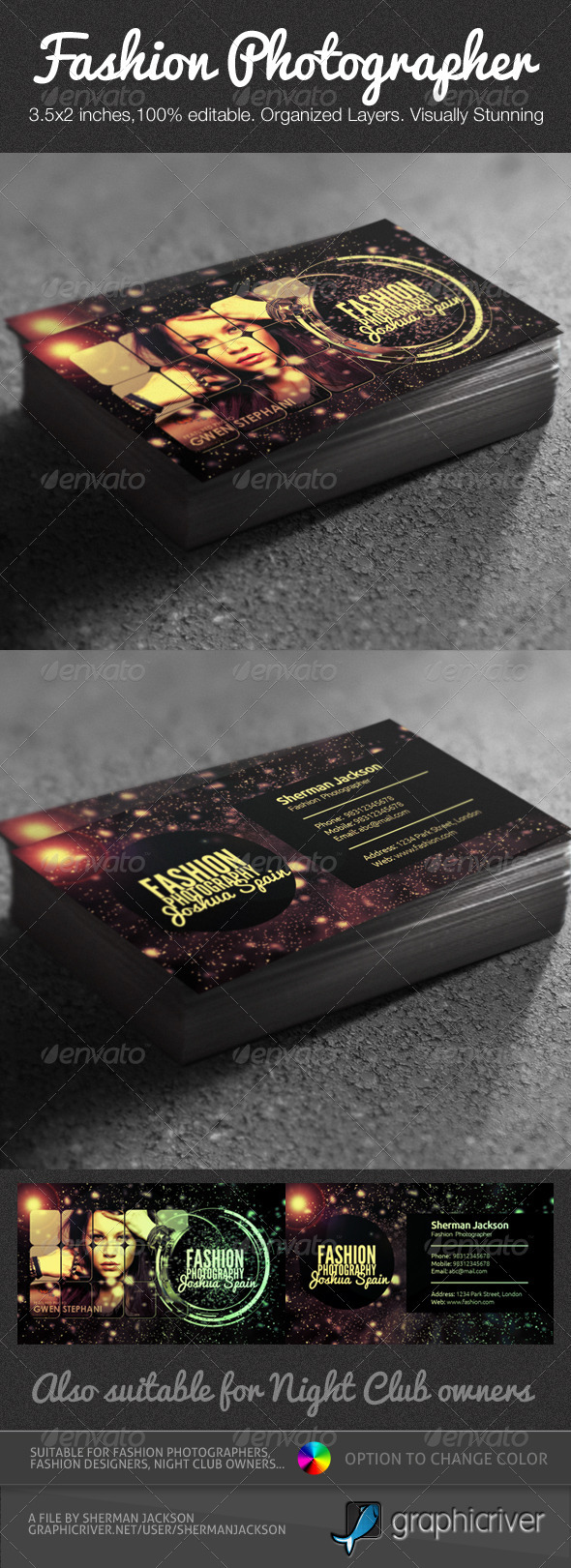 Creative Fashion Photographer Business Card PSD - Industry Specific Business Cards