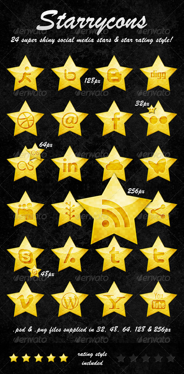 GraphicRiver Starrycons Social Media Icons 292874