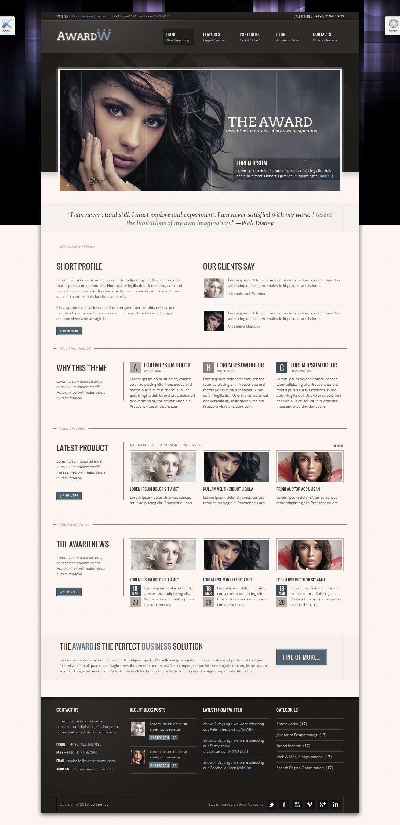 "Award Premium Wordpress Theme 21 in 1 - index-1.html skin ""airforceBlue"", theme style ""boxed"", background style ""dohed style 1-2"""