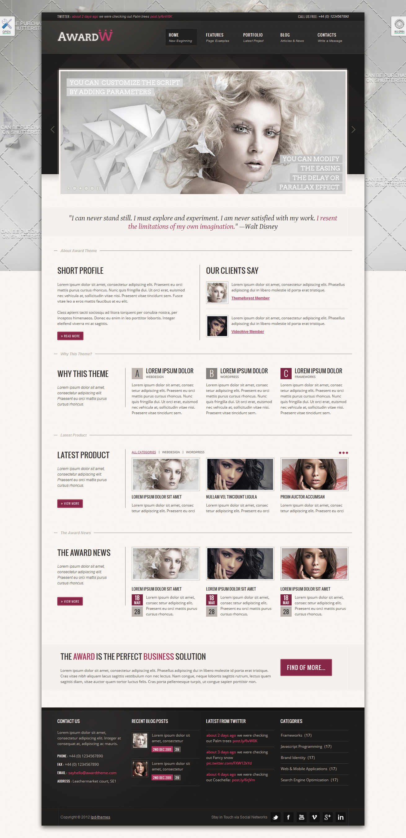 "Award Premium Wordpress Theme 21 in 1 - index.html skin ""hotPink"", theme style ""boxed"", background style ""image"""
