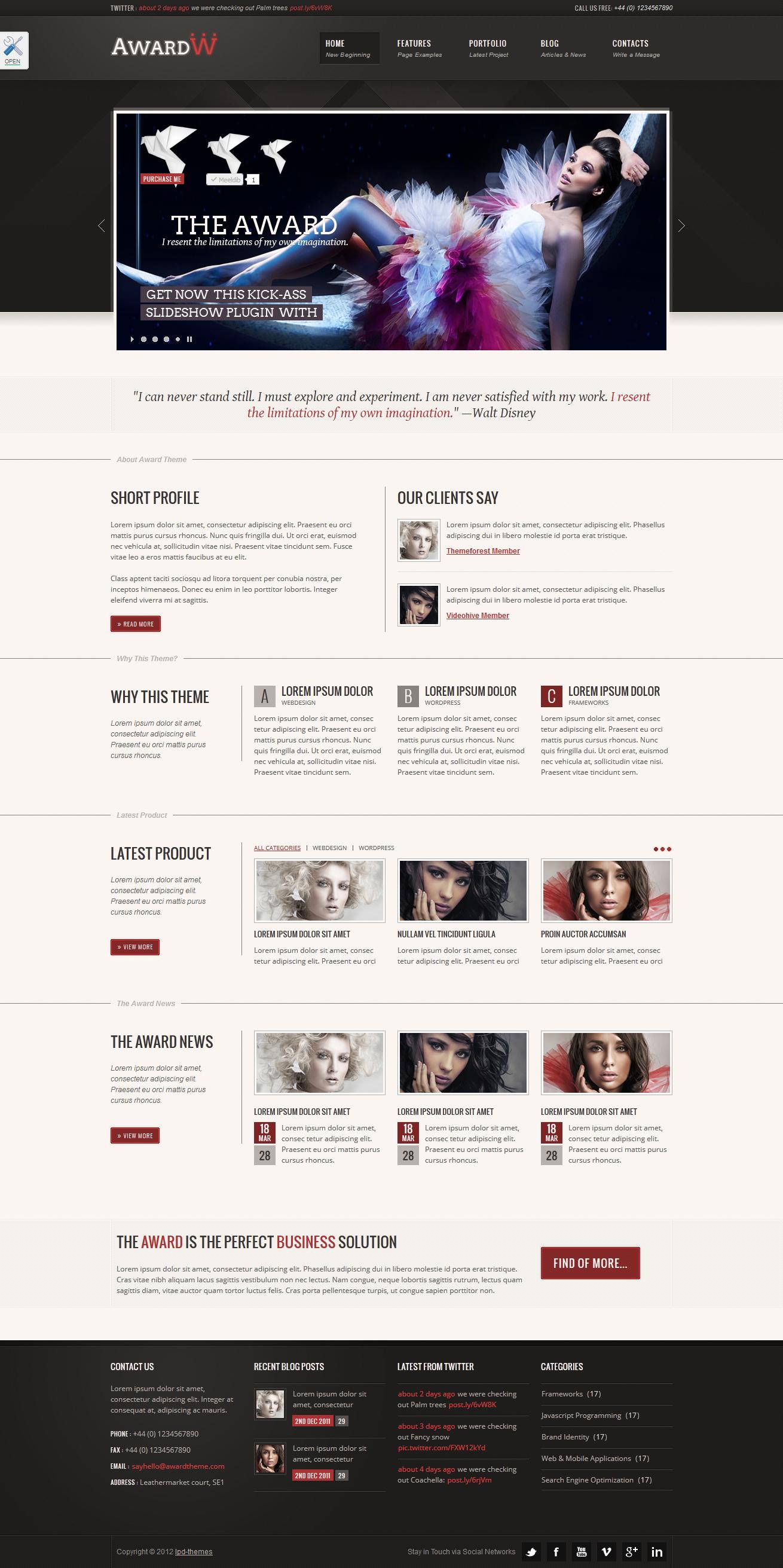 "Award Premium Wordpress Theme 21 in 1 - index.html skin ""red"", theme style ""full width"""