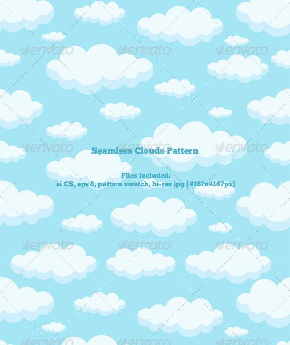 Seamless Clouds Pattern - Nature Textures / Fills / Patterns