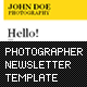 Photographer Newsletter Template  Free Download