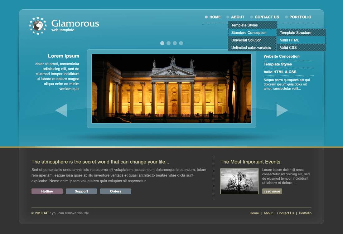 Glamorous Universal Template with ColorPicker - Homepage with special dropdown navigation for IE6!
