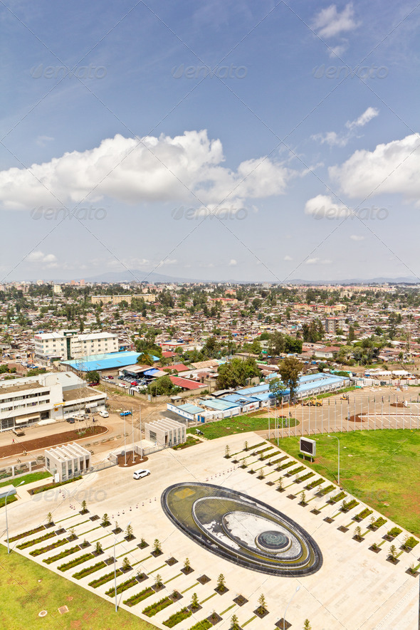 Aerial view of Addis Ababa - Stock Photo - Images