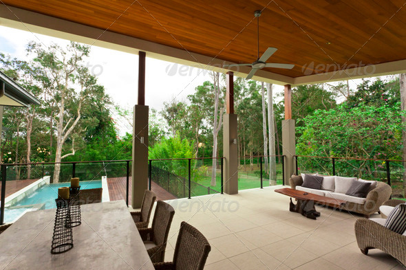 Modern backyard - Stock Photo - Images