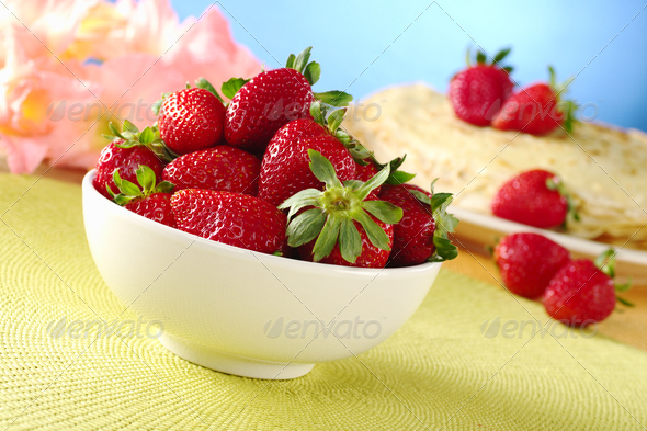 Fresh Strawberries in White Ceramic Bowl - Stock Photo - Images