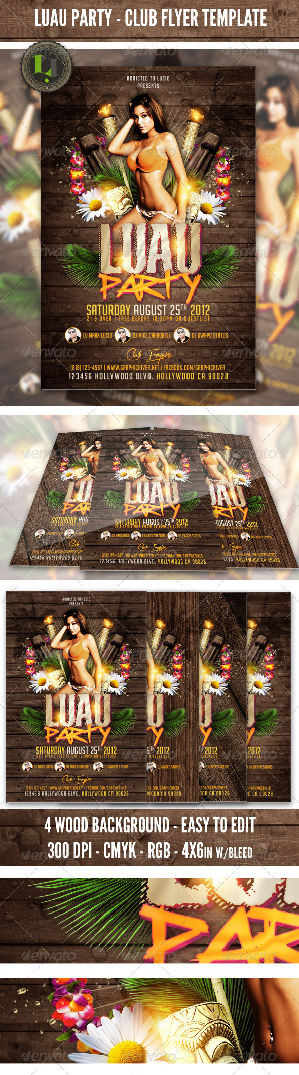 Luau Party - Club Flyer Template - Clubs & Parties Events