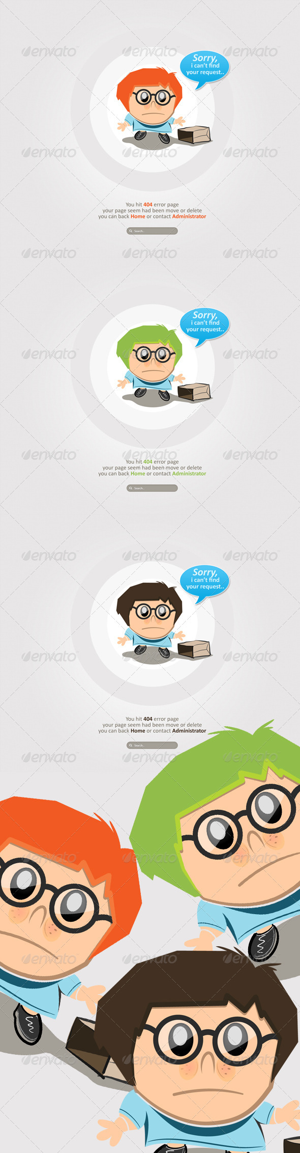 Clean and Simple Character 404 Error  - 404 Pages Web Elements