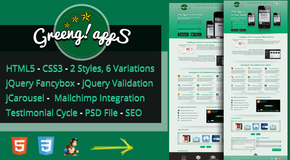 Greeng Apps Landing Page