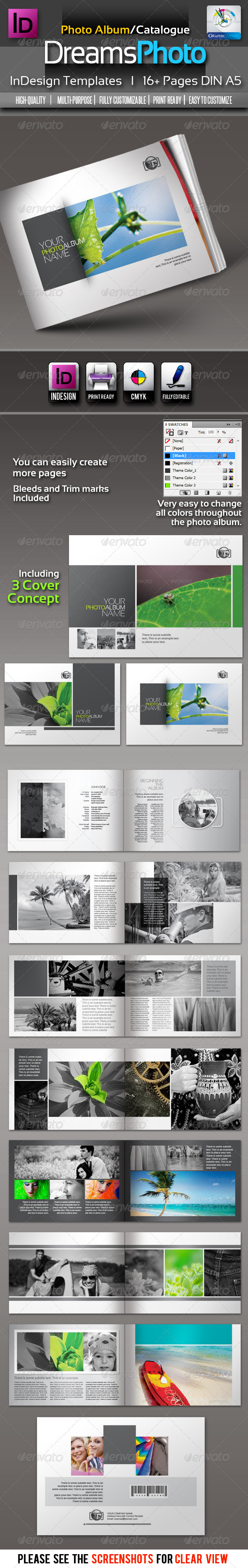 Dreams Clean Photo Album InDesign Templates - Photo Albums Print Templates