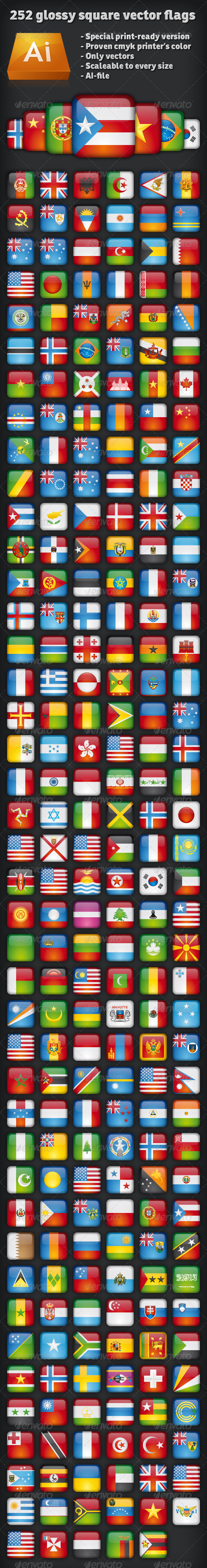 GraphicRiver Ultimate 252 glossy square vector flags 2622272