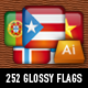 Ultimate 252 glossy square vector flags - GraphicRiver Item for Sale