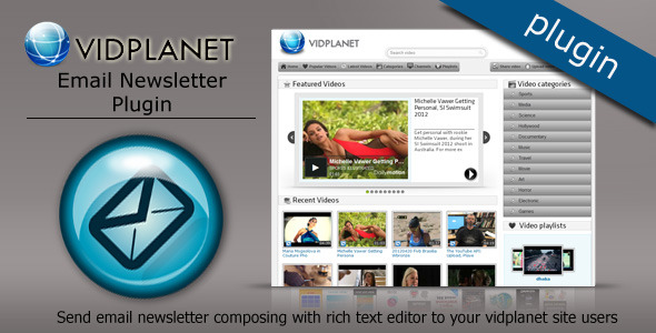 Vidplanet Plugin : Email Newsletter - WorldWideScripts.net Item para sa Sale