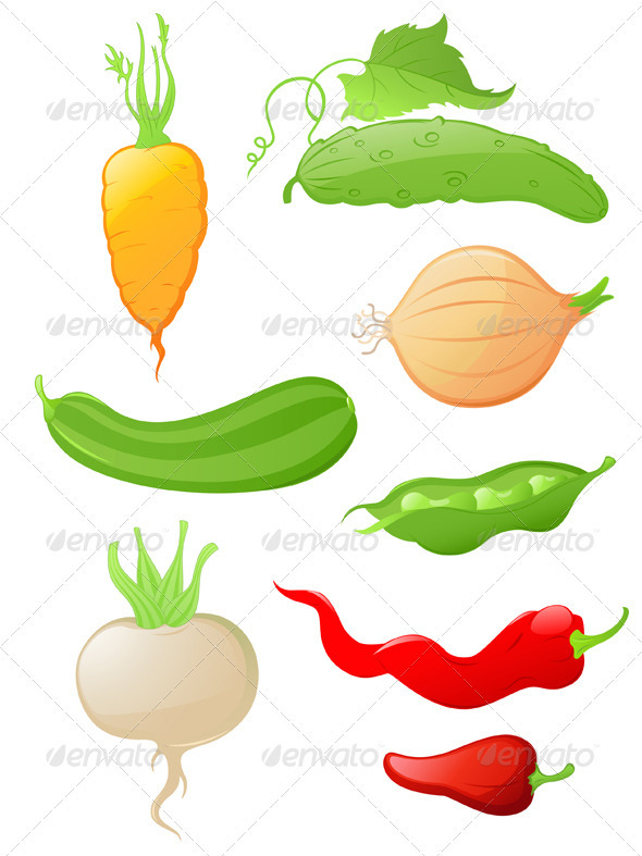 GraphicRiver Set of Glossy Vegetable Icons 2627236
