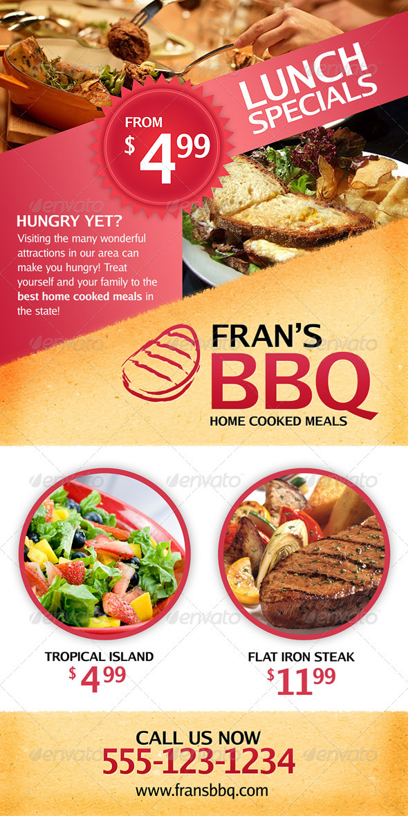 BBQ Restaurant Outdoor Banner Signage  - Signage Print Templates