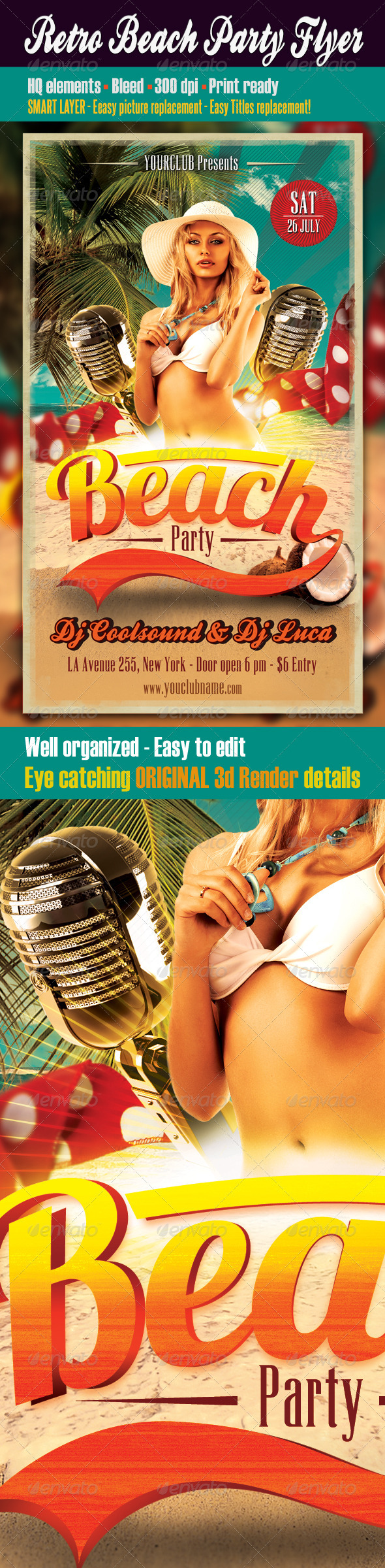 Retro Beach Party Flyer - Clubs & Parties Events