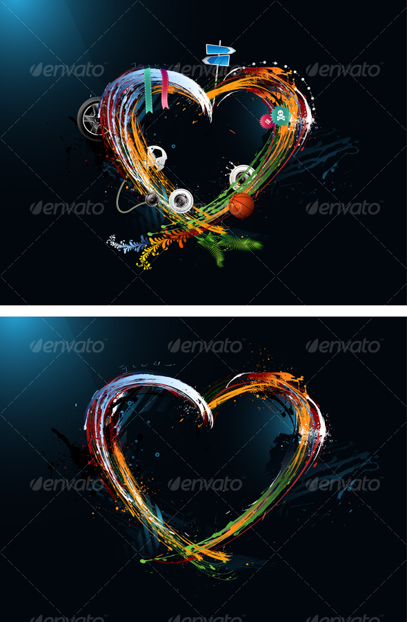 GraphicRiver Postcard Heart Valentine s Day Graffiti 95221