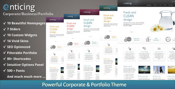 Enticing - A New Premium Corporate and Portfolio Theme