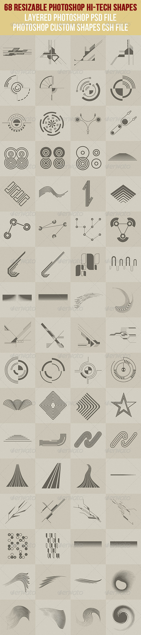 GraphicRiver 68 Photoshop Hi-Tech Shapes 1 2628409