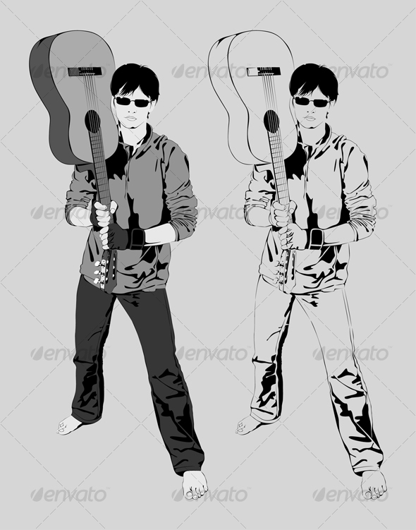 Vector Illustration Young Guy with a Guitar Music