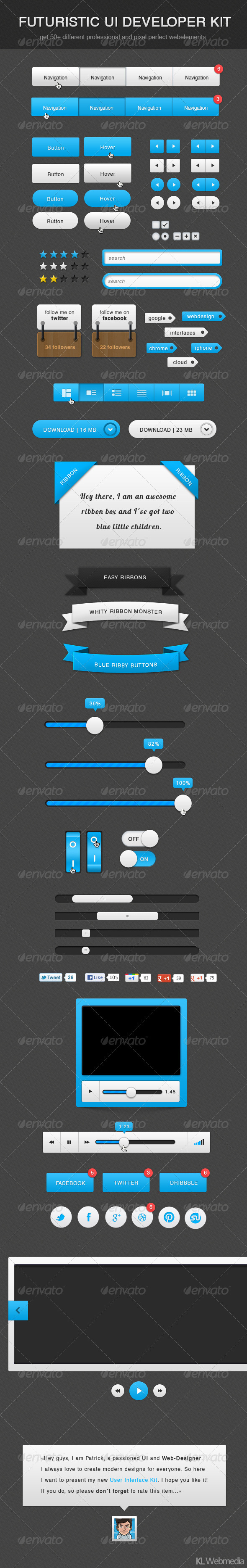 Futuristic Developer UI Kit - User Interfaces Web Elements