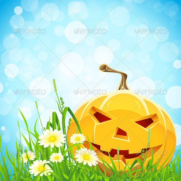Halloween Background with Flowers and Pumpkin