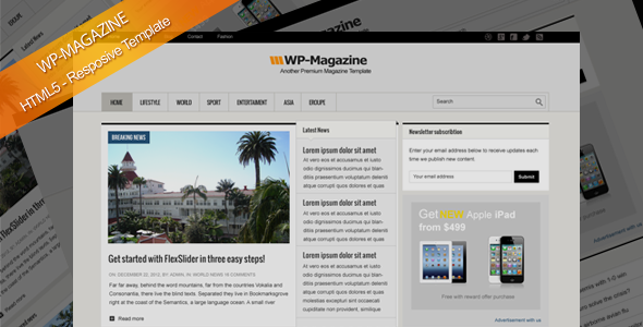 Magazine HTML5 Responsive Template - Corporate Site Templates